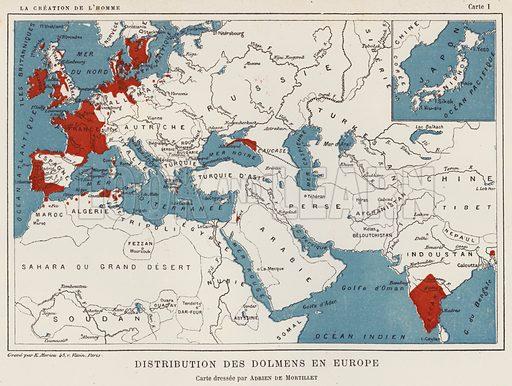 Distribution Des Dolmens En Europe. Illustration for La Creation de L'Homme et les Premiers Ages de L'Humanite by Henri Du Cleuziou (Marpon et Flammarion, 1887).