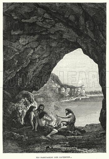 Ils Habitaient Des Cavernes. Illustration for La Creation de L'Homme et les Premiers Ages de L'Humanite by Henri Du Cleuziou (Marpon et Flammarion, 1887).