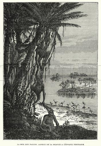 La Mer Des Faluns. Aspect De La Beauce A L'Epoque Tertiaire. Illustration for La Creation de L'Homme et les Premiers Ages de L'Humanite by Henri Du Cleuziou (Marpon et Flammarion, 1887).
