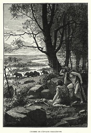 L'Homme De L'Epoque Chelleenne. Illustration for La Creation de L'Homme et les Premiers Ages de L'Humanite by Henri Du Cleuziou (Marpon et Flammarion, 1887).