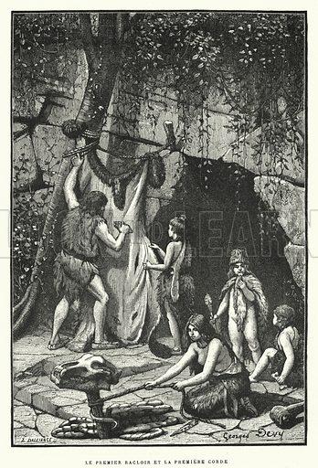 Le Premier Racloir Et La Premiere Corde. Illustration for La Creation de L'Homme et les Premiers Ages de L'Humanite by Henri Du Cleuziou (Marpon et Flammarion, 1887).
