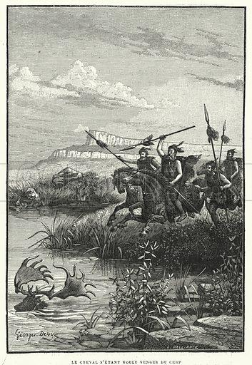 Le Cheval S'Etant Voulu Venger Du Cerf. Illustration for La Creation de L'Homme et les Premiers Ages de L'Humanite by Henri Du Cleuziou (Marpon et Flammarion, 1887).