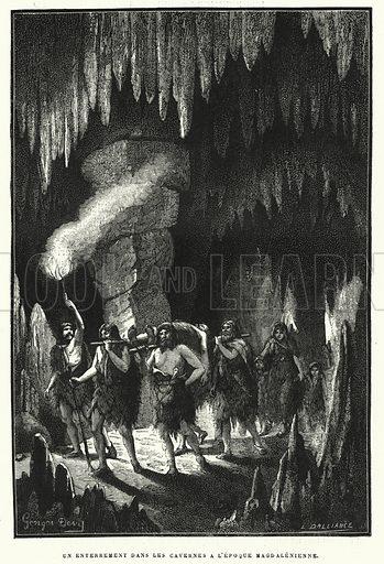 Un Enterrement Dans Les Cavernes A L'Epoque Magdalenienne. Illustration for La Creation de L'Homme et les Premiers Ages de L'Humanite by Henri Du Cleuziou (Marpon et Flammarion, 1887).