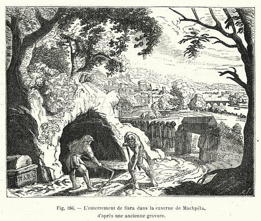 L'enterrement de Sara dans la caverne de Machpela, d'apres une ancienne gravure. Illustration for La Creation de L'Homme et les Premiers Ages de L'Humanite by Henri Du Cleuziou (Marpon et Flammarion, 1887).