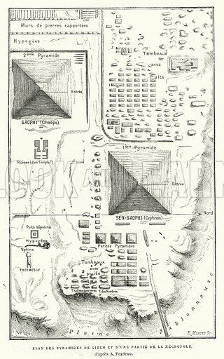 Plan Des Pyramides De Gizeh Et D'Une Partie De La Necropole, d'apres A Feydeau. Illustration for La Creation de L'Homme et les Premiers Ages de L'Humanite by Henri Du Cleuziou (Marpon et Flammarion, 1887).