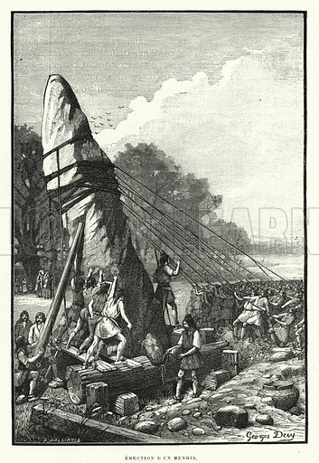 Erection D'Un Menhir. Illustration for La Creation de L'Homme et les Premiers Ages de L'Humanite by Henri Du Cleuziou (Marpon et Flammarion, 1887).