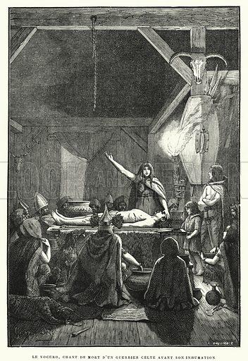 Le Vocero, Chant De Mort D'Un Guerrier Celte Avant Son Inhumation. Illustration for La Creation de L'Homme et les Premiers Ages de L'Humanite by Henri Du Cleuziou (Marpon et Flammarion, 1887).