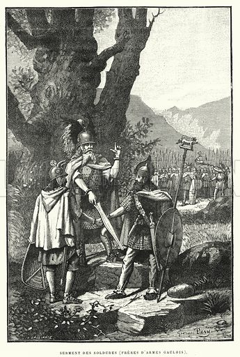Serment Des Soldures, Freres D'Armes Gaulois. Illustration for La Creation de L'Homme et les Premiers Ages de L'Humanite by Henri Du Cleuziou (Marpon et Flammarion, 1887).