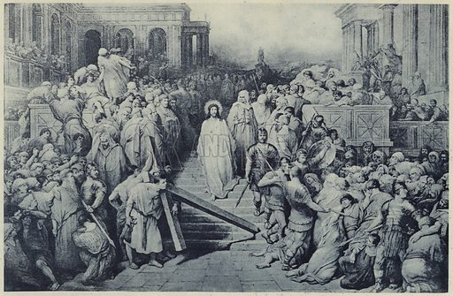 Christ leaving the Praetorium. Illustration for Crowned Masterpieces of Eloquence (International University Society, 1911).