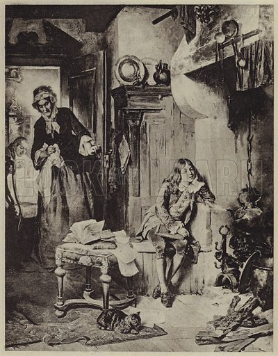 James Watt discovering the Power of Steam. Illustration for Crowned Masterpieces of Eloquence (International University Society, 1911).