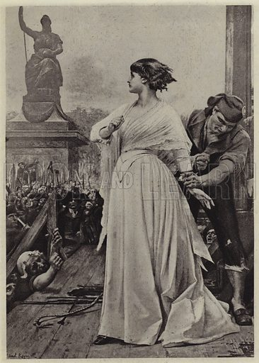 Madame Roland on the Scaffold. Illustration for Crowned Masterpieces of Eloquence (International University Society, 1911).