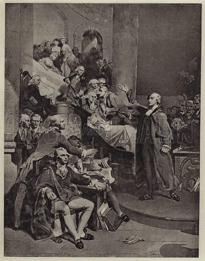 Patrick Henry delivering his speech of 1765. Illustration for Crowned Masterpieces of Eloquence (International University Society, 1911).