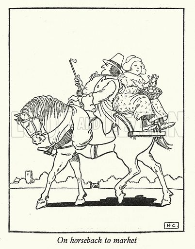 On horseback to market. Illustration for Crusaders by Hugh Chesterman (Shakespeare Head Press, 1946).