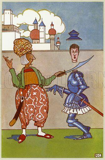 Decapitated rash Sir Tush. Illustration for Crusaders by Hugh Chesterman (Shakespeare Head Press, 1946).