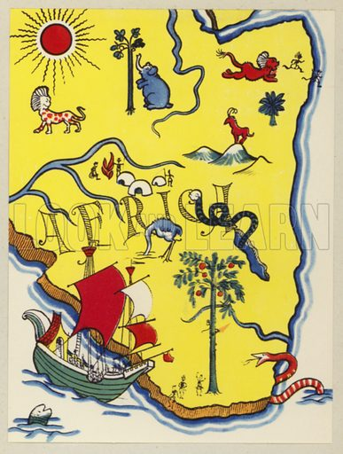 Travels of Vasco Da Gama. Illustration for Crusaders by Hugh Chesterman (Shakespeare Head Press, 1946).