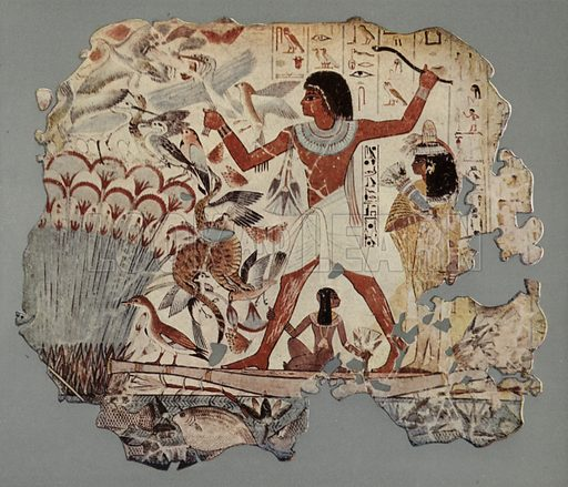 An Egyptian officer, accompanied by his wife and daughter, fowling in a marsh well stocked with water-fowl and fish. Before him is his hunting-cat catching birds. British Museum, Third Egyptian Room. From a wall painting in a tomb at Thebes. XVIIIth Dynasty. Illustration for Wall Decorations of Egyptian Tombs illustrated from examples in the British Museum (British Museum, 1914).