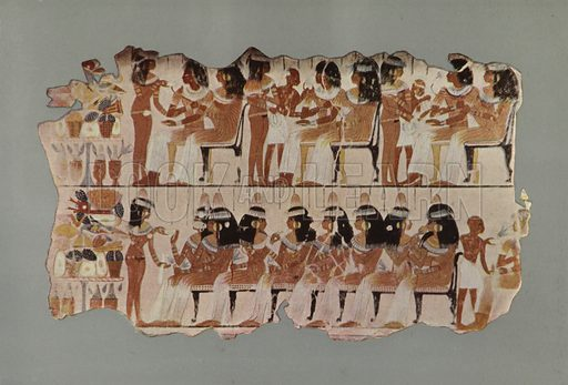 An Egyptian Feast. In the upper register three ladies and three gentlemen are seated and drinking wine, which is being poured out for them by a female slave. In the lower register is a group of ladies seated and drinking wine. To the left in each register is a table loaded with delicacies. British Museum, Third Egyptian Room. From a wall-painting in a tomb at Thebes. XVIIIth Dynasty. Illustration for Wall Decorations of Egyptian Tombs illustrated from examples in the British Museum (British Museum, 1914).