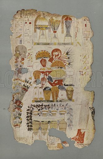 A table of funerary offerings, with fruit, flowers, sweetmeats, etc, and jars of wine standing by it. The text contains part of a prayer to Ra, Keb, and the Great Gods, for offerings for the deceased. British Museum, Third Egyptian Room. From a wall-painting in a tomb at Thebes. XVIIIth Dynasty. Illustration for Wall Decorations of Egyptian Tombs illustrated from examples in the British Museum (British Museum, 1914).