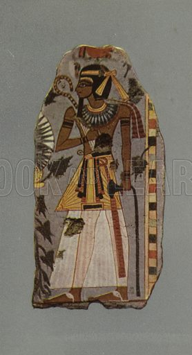 Figure of Amen-hetep I, King of Egypt, BC 1600. British Museum, Third Egyptian Room. From a wall-painting in a tomb at Thebes. XVIIIth Dynasty. Illustration for Wall Decorations of Egyptian Tombs illustrated from examples in the British Museum (British Museum, 1914).
