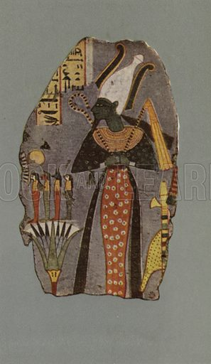 Figure of Osiris Khenti Amenti. British Museum, Third Egyptian Room. From a wall-painting in a tomb at Thebes. XVIIIth Dynasty. Illustration for Wall Decorations of Egyptian Tombs illustrated from examples in the British Museum (British Museum, 1914).