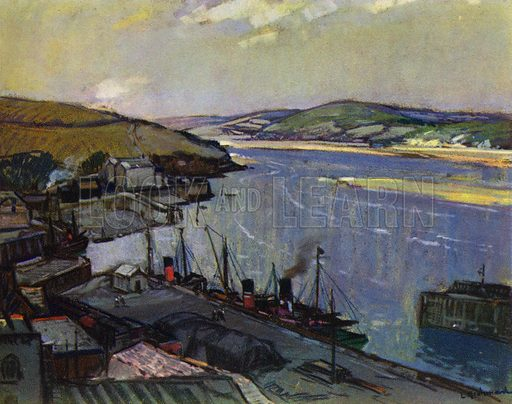 Padstow. Illustration for Devon and Cornish Days by E P Leigh-Bennett (np, c 1935).