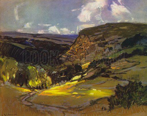 A Cornish Landscape. Illustration for Devon and Cornish Days by E P Leigh-Bennett (np, c 1935).