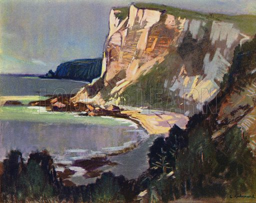 Chalk Cliffs, East Devon. Illustration for Devon and Cornish Days by E P Leigh-Bennett (np, c 1935).