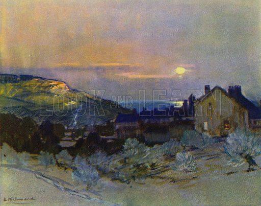 Winter Sunset, Devon. Illustration for Devon and Cornish Days by E P Leigh-Bennett (np, c 1935).