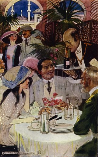"At the Restaurant. Illustration for Dido: Her Visit to the Departmental Stores at Bagdad by the author of ""What and Why"" (George Allen, 1911)."