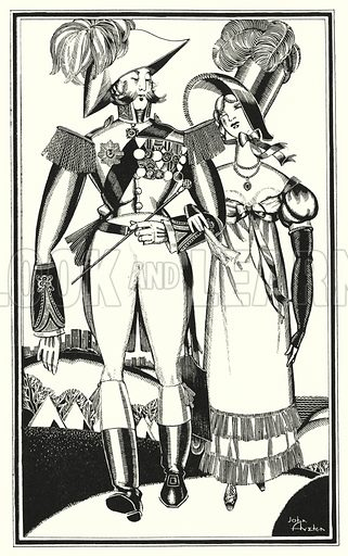 Medals, Rank, Ribbands, Lace, Embroidery, Scarlet. Illustration for Don Juan by Lord Byron with illustrations by John Austen (John Lane The Bodley Head, 1926).