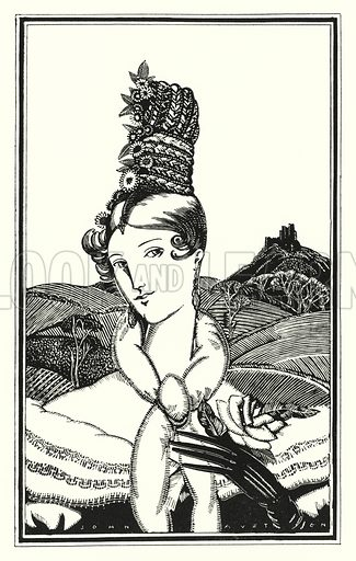 The Duchess of Fitz-Fulke. Illustration for Don Juan by Lord Byron with illustrations by John Austen (John Lane The Bodley Head, 1926).