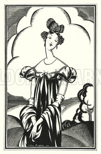 Aurora Raby, a young star. Illustration for Don Juan by Lord Byron with illustrations by John Austen (John Lane The Bodley Head, 1926).