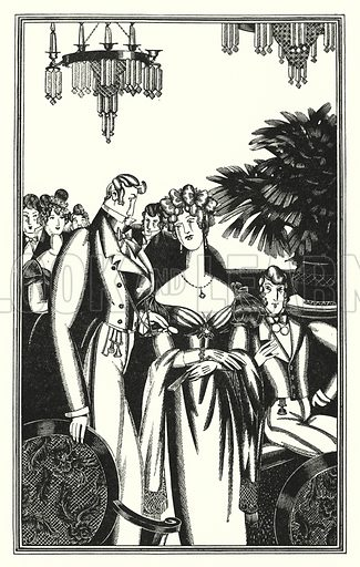 Juan was received into the best society. Illustration for Don Juan by Lord Byron with illustrations by John Austen (John Lane The Bodley Head, 1926).