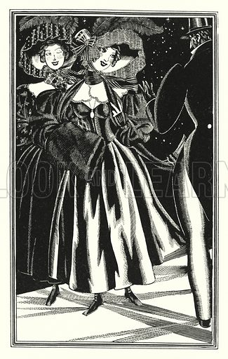 Pedestrian Paphians, commodious but immoral. Illustration for Don Juan by Lord Byron with illustrations by John Austen (John Lane The Bodley Head, 1926).