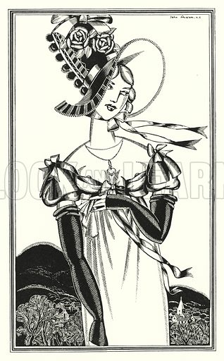 A Bonnet, which the fair sex wear. Illustration for Don Juan by Lord Byron with illustrations by John Austen (John Lane The Bodley Head, 1926).