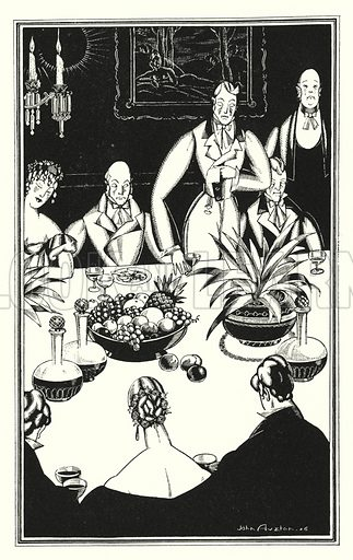 The gloomiest hour, which turns up out of the sad twenty-four. Illustration for Don Juan by Lord Byron with illustrations by John Austen (John Lane The Bodley Head, 1926).