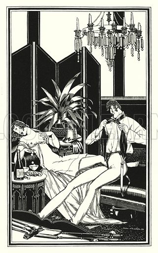 That slut the Pelegrini, she too was fortunate last carnival. Illustration for Don Juan by Lord Byron with illustrations by John Austen (John Lane The Bodley Head, 1926).