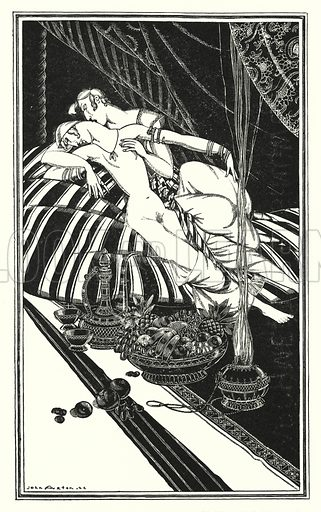Haidee and Juan were not married, the fault was theirs, not mine. Illustration for Don Juan by Lord Byron with illustrations by John Austen (John Lane The Bodley Head, 1926).