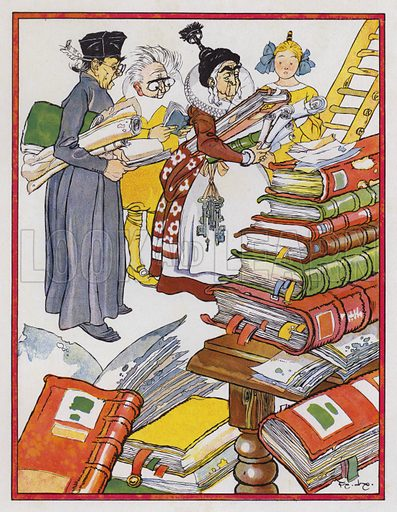 The priest, the barber, the housekeeper and the niece make a bonfire of all books on Knight-Errantry. Illustration for Don Quixote by Miguel de Cervantes (Hachette, 1930).