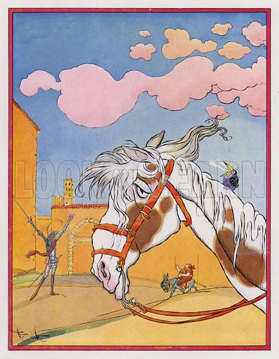 Sancho Panza escapes from the inn after being cruelly tossed in a blanket and rejoins his master. Illustration for Don Quixote by Miguel de Cervantes (Hachette, 1930).