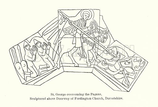 St George overcoming the Pagans. Sculptured above doorway of Fordington Church, Dorsetshire. Illustration for Early Christian Symbolism in Great Britain and Ireland by J Romilly Allen (Whiting, 1887).