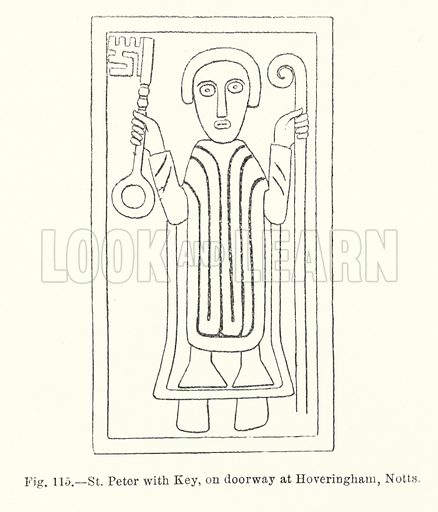 St Peter with Key, on doorway at Hoveringham, Nottinghamshire. Illustration for Early Christian Symbolism in Great Britain and Ireland by J Romilly Allen (Whiting, 1887).