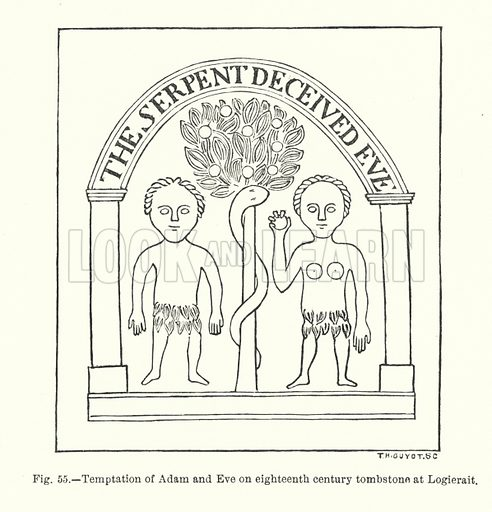 Temptation of Adam and Eve on eighteenth century tombstone at Logierait. Illustration for Early Christian Symbolism in Great Britain and Ireland by J Romilly Allen (Whiting, 1887).