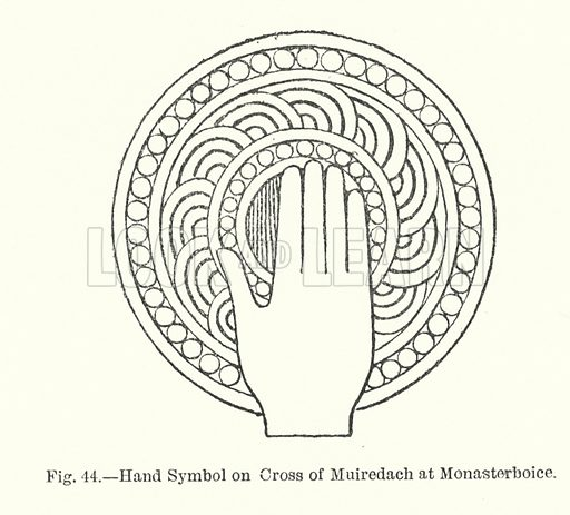 Hand Symbol on Cross of Muiredach at Monasterboice. Illustration for Early Christian Symbolism in Great Britain and Ireland by J Romilly Allen (Whiting, 1887).