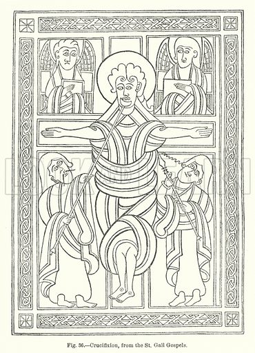 Crucifixion, from the St Gall Gospels. Illustration for Early Christian Symbolism in Great Britain and Ireland by J Romilly Allen (Whiting, 1887).