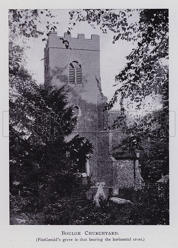 Boulge Churchyard. Fitzgerald's grave is that bearing the horizontal cross. Illustration for Edward Fitzgerald 1809-1909 Centenary Celebrations Souvenir (East Anglian Daily Times, 1909).
