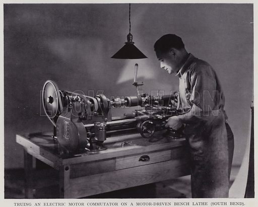 Truing an electric motor commutator on a motor-driven bench lathe, south bend. Illustration for Engineering Workshop Practice by Arthur W Judge (new and revised edn, Caxton, c 1936).