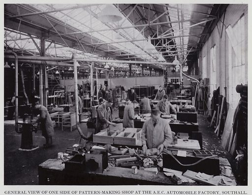General view of one side of pattern-making shop at the AEC Automobile Factory, Southall. Illustration for Engineering Workshop Practice by Arthur W Judge (new and revised edn, Caxton, c 1936).
