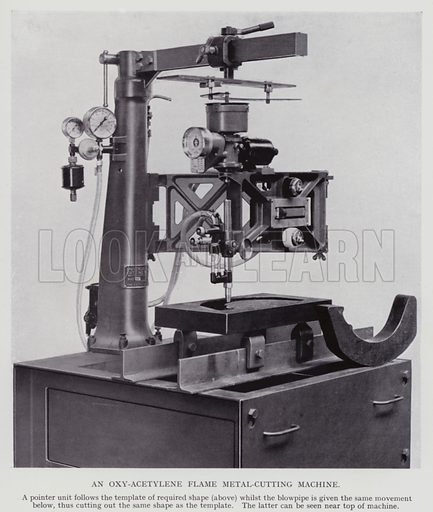 An oxy-acetylene flame metal-cutting machine. Illustration for Engineering Workshop Practice by Arthur W Judge (new and revised edn, Caxton, c 1936).