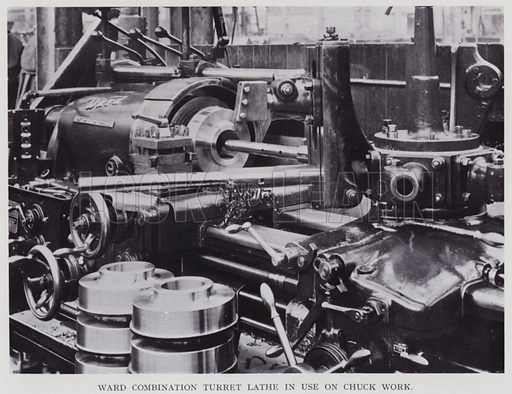 Ward combination turret lathe in use on chuck work. Illustration for Engineering Workshop Practice by Arthur W Judge (new and revised edn, Caxton, c 1936).